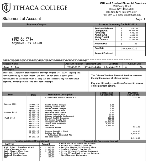 Upon Receipt Meaning Pdf Understanding Your Bill  Financial Aid And Billing  Ithaca College Invoice Finance Jobs Pdf with Billing And Invoicing Excel  Bmw Invoice Prices