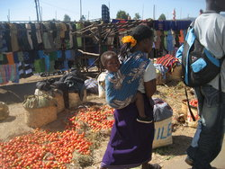 A typical open-air marketplace in rural Malawi