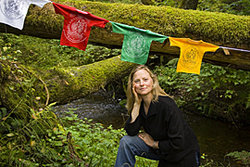 Alyssa Tromblay with babyshirt prayer flags