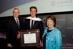 David Muir with Pres. Tom Rochon and Dean Diane Gayeski