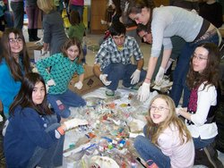 IC and Trumansburg Middle School Students sort garbage