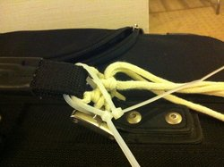 I fixed my bag with shoelaces and zip ties-as good as new!