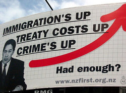 """Immigration's Up,"" New Zealand First Party, 2008 (www.flickr.com/photos/irish-guy)"