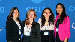 Jenna and the VCP team at CGI U (from left, Jenna Jablonski, Chloe Lincoln, Zeinab El Tobgui and Sanjana Patel)
