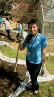 Jenna participating in a day of service at a local St. Louis high school