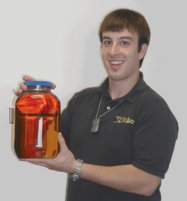 Jonathan Hershenson (Chemistry '09) with his biodiesel.