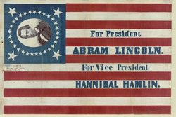 Lincoln-Hamlin Banner, print on cloth (1860) [Library of Congress]