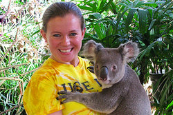 Meghan hugging a Koala