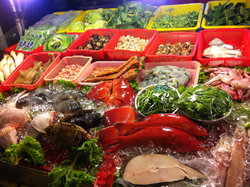 Nice display of colors: seafood and vegetables