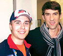 Nicholas Karski with Michael Phelps, who holds 14 Olympic gold medals in swimming