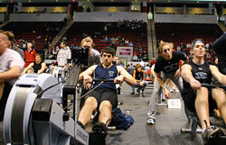 Nick Alvarez '10 pulls a first place finish in his heat at the World Indoor Rowing Championships in Cambridge, MA.