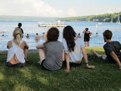 Students enjoying Cayuga Lake
