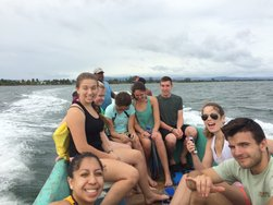 Students headed out to snorkel at South Water Caye, Belize