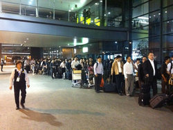 Taxi line at Shanghai airport--good thing we had a van waiting for us!