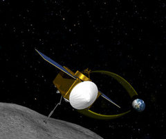 This conceptual image shows OSIRIS-REx moving into place to sample asteroid RQ36