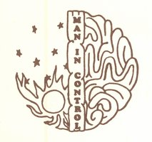"logo of half sun and stars and half brain, with ""Man in Control"" in between"