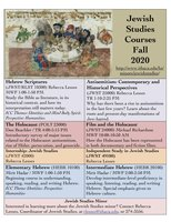 poster of Jewish Studies courses for Fall 2020
