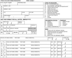 Self Reporting, Personnel Information Form - First Day New Hire ...