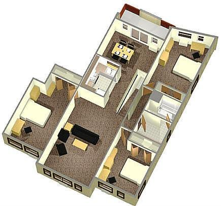 3 Person 2nd Floor Apartment Layout Circle Apartments Residential Life Ithaca College