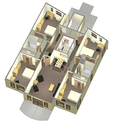 4 person 1st floor apartment layout circle apartments for Apartment marketing plans