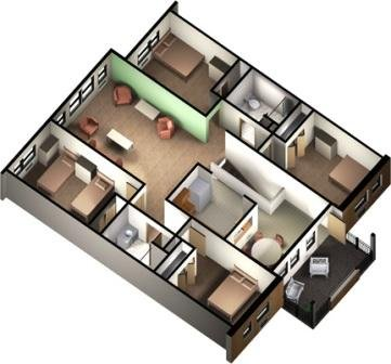 5-person, 2nd Floor Apartment Layout
