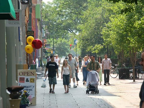 A summer stroll on the downtown Ithaca Commons