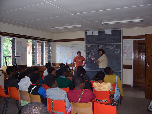 Brendan Manning teaching class in the Peace Corps