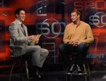 Connors (left) interviews Ron Gronkowski of the New England Patriots on the set of ESPN's SportsCenter.