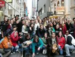 "students posing in front ""In the Heights!"" in NYC"