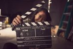 Kristine Tsui �15 holds the slate on the set of �The Ingenious Invention of Professor  Calamity�