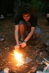 Lighting a fire on the Interloken Backpacking Trip