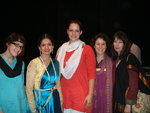 Participants in the field school dressed in North Indian clothes backstage at a performance