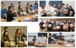 various images of groups of students playing tabla