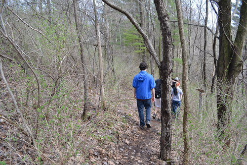 Students hiking in the Lindsay-Parsons Preserve.