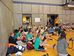 Teams and participants listen to Danny and Jackie Durling speak about wish kid Danny�s wish to go to Disney World at Swish for Make-A-Wish on April 20 in the Fitness Center Mondo Gym on Ithaca College