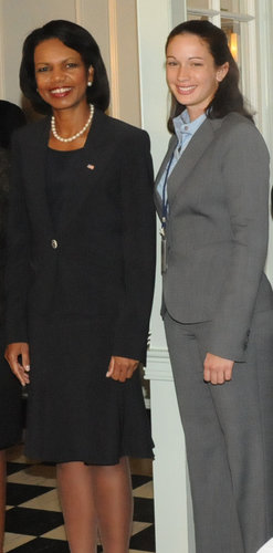 Elise Kain with Sec. of State Condoleezza Rice