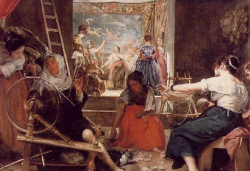 The fable of Arachne, portrayed as women weaving thread