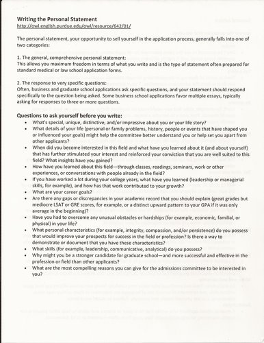 How to write personal statement for grad school