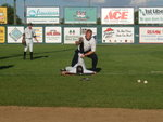 Adam Tischler stretching a white sox player
