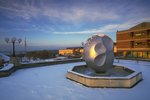 Atop Textor Hall, the Textor ball is a common campus sight.