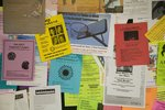 Campus hallway bulletin board advertises a multitude of events and opportunities.