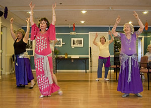 Professor Machan has taught a belly dance class at Longview, an adult residential community, for years.