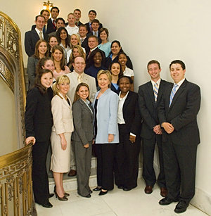 Senator Clinton posing with her interns
