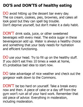 DO's and DON'Ts of healthy eating