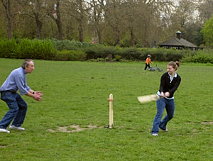 Playing cricket in Hyde Park