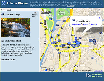Ithaca places map and gallery