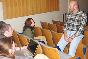 Heffner talks with Park students during his most recent visit to Ithaca.