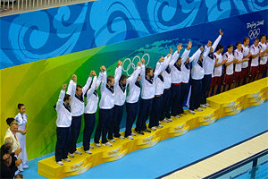 The United States men's water polo receives the bronze medal.
