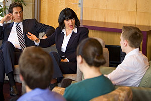 Park scholars meet with James Rubin and Christiane Amanpour.
