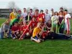 Players from Hood (Gryffindor) and Hilliard (Slytherin) Halls pose for a picture after the Golden Snitch was caught.
